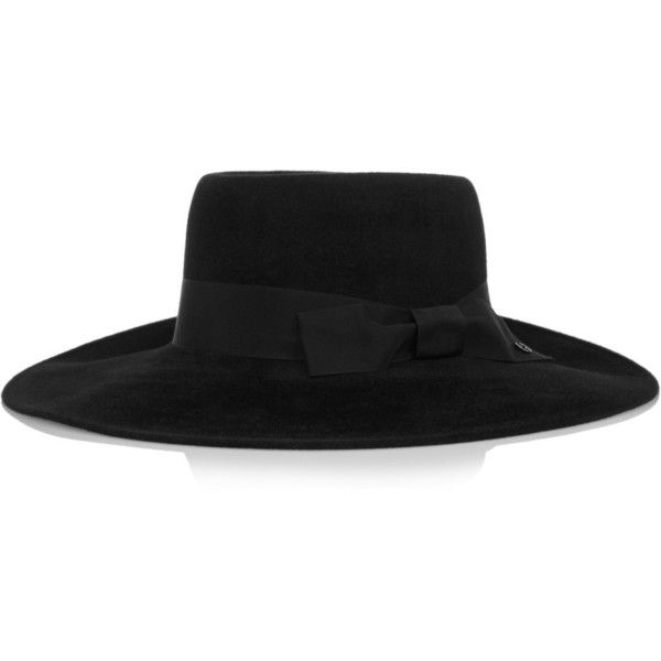 Gucci Wide-brim rabbit-felt hat (9,315 MXN) ❤ liked on Polyvore featuring accessories, hats, gucci, black, gucci hat, rabbit fur hat, wide brim felt hat, bow hat and band hats
