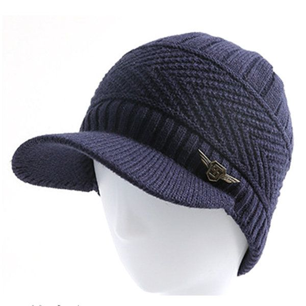 High-quality Mens Knitted Slouch Warm Baseball Cap Collar Scarf Set Lining Coral Fleece Double Layers Ski Cap - NewChic