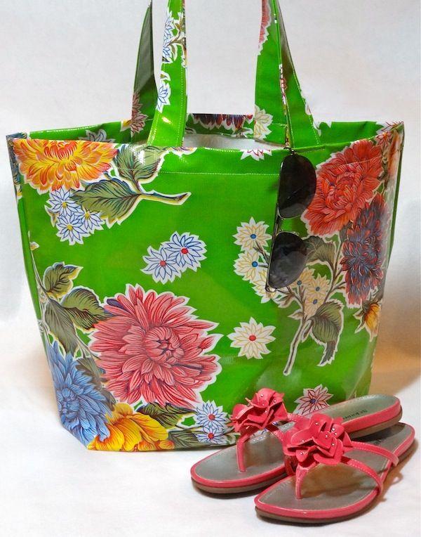 oil cloth beach bag
