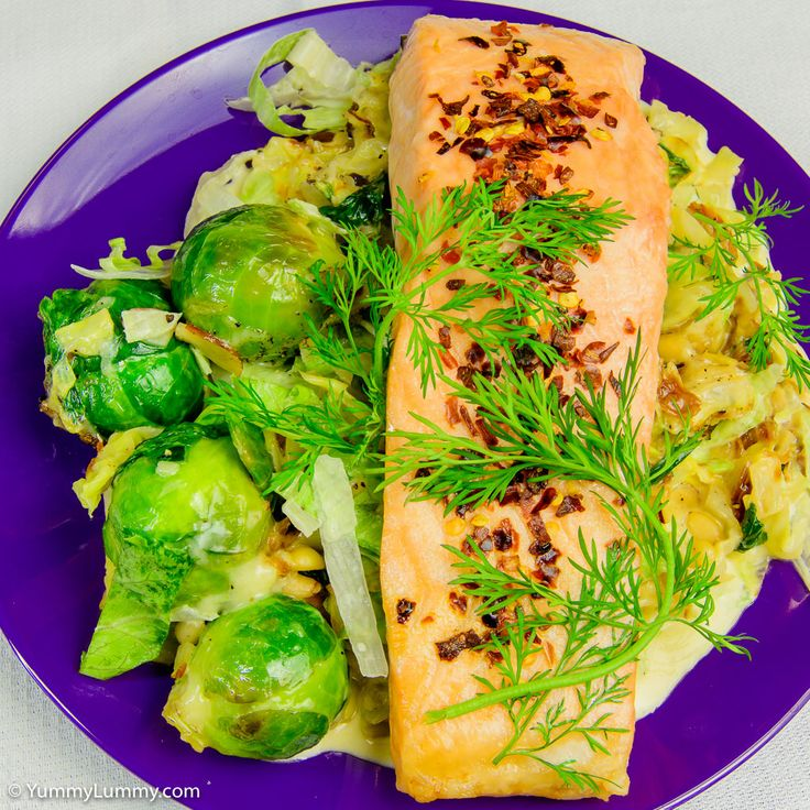 Baked salmon and creamy cabbage with Brussels sprouts   http://yummylummy.com/2015/06/23/baked-salmon-with-creamy-cabbage-and-brussels-sprouts-plus-nuts-for-crunch/