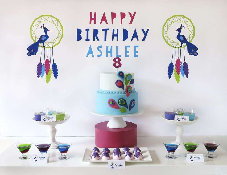 Cool display at a peacock spa birthday party! See more party ideas at CatchMyParty.com!