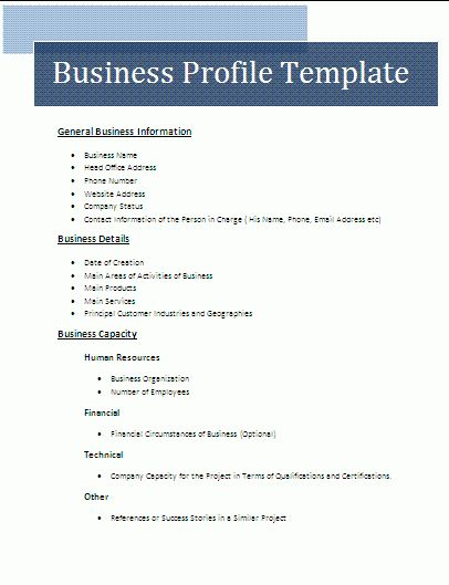 Business profile example free download accmission Images