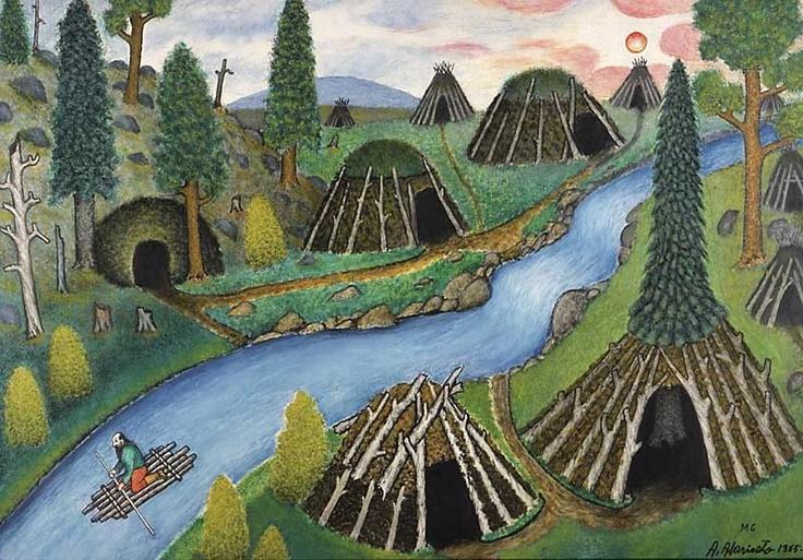 Lapp artist, Andreas Alariesto (1900 - 1989) The Stream of Life