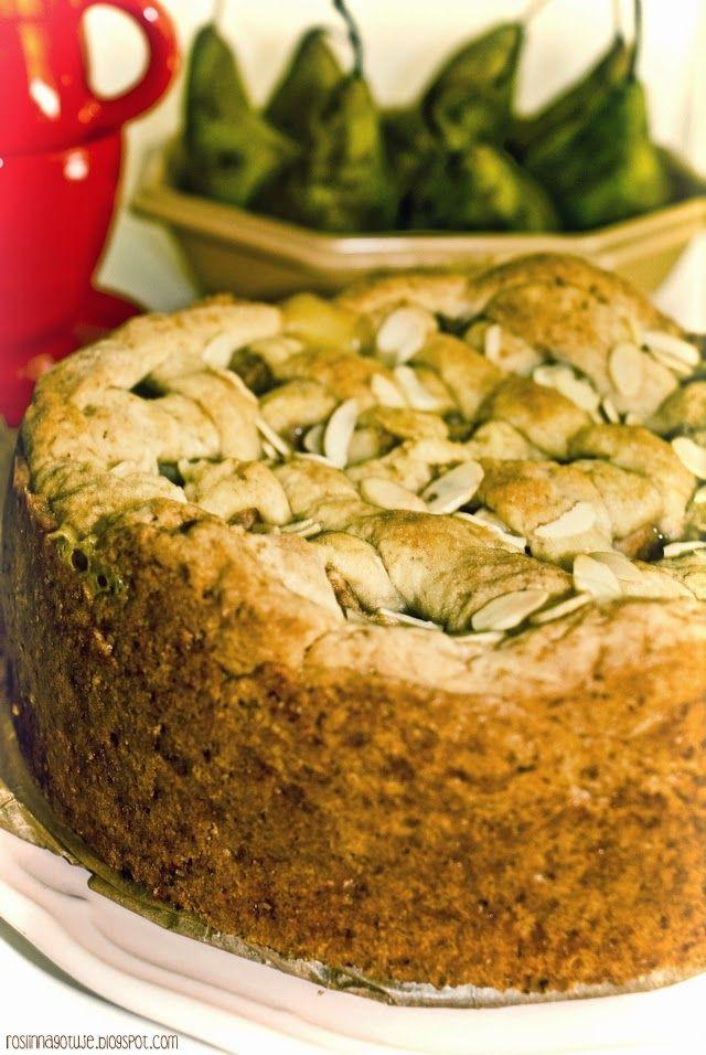 Roślinna : Waniliowe ciasto z budyniem i gruszkami
