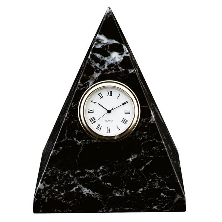 Black Zebra Marble Pyramid Desktop Clock - CL-116