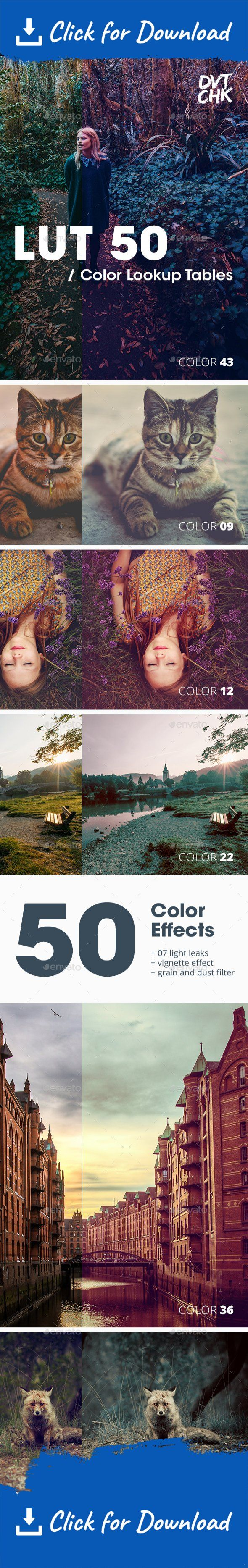 80's, cinematic, color lookup table, cross process, design, dirty, effect, facebook, film, filter, flickr, grunge, instagram, ipster, lighting, lomo, matte, nashville, old, photo, photographer, premium, retro, sepia, texture, unsplash, vintage, wash, x-pro Video Tutorial https://youtu.be/Iv6RJk4ArHQ  ** Small Update! I've included .3dl and .cube file formats. I can also provide .csp files upon request. **   Description LUT 50 – Photoshop Color Filter FX. Choose between 50 different col...