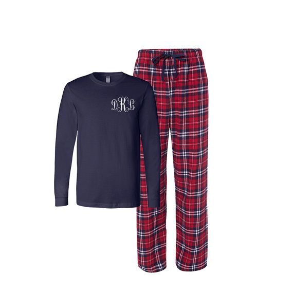 Personalized Flannel Pj Set, monogrammed Adult Christmas Pajamas, Christmas Flannel Pajama set, Xmas Plaid Pajamas, Adult Reindeer Tshirt