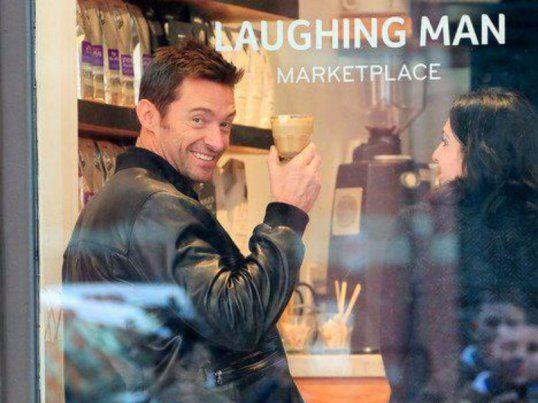 hugh jackman laughing man coffee shop