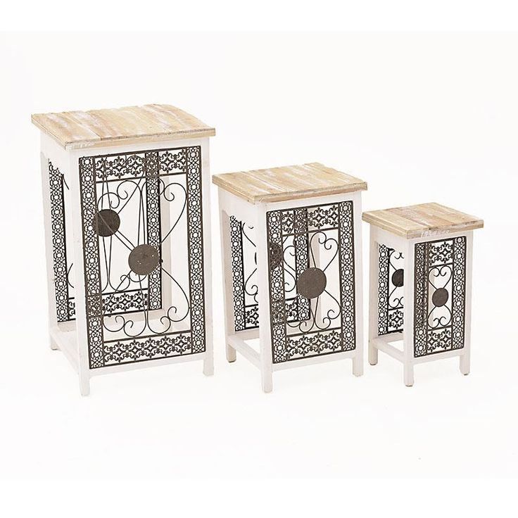 S/3 METAL/WOODEN FLOWER STAND IN CREAM-BROWN COLOR 45X47X80 - Flower Stands - FURNITURE