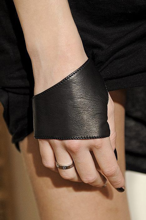 Simple leather cuff, half-glove. Love this. So completely affective. #statement