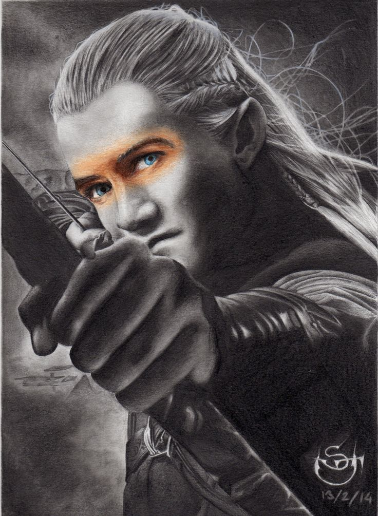 Drawing in graphite and color of Legolas Thranduillion, The Hobbit and Lord of the Rings' character