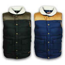 Mens Gilet Tokyo Laundry Bodywarmer Jacket Padded Quilted Patches Sherpa Fleece