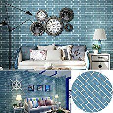 SimpleLife4U Mediterranean Style Blue Brick Pattern Decorative Contact Paper Vinyl Self Adhesive Shelf Drawer Liner 17x118 Inch