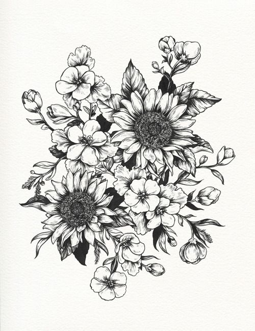 In progress - sunflowers and geraniums for Sofia (technicolorlover) This image is a design for a tattoo. Please respect my client and do not use this image for your own tattoo. Thank you!  EDIT: original client opted out of having this inked. Feel free to use the design for yourself!