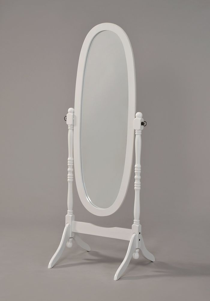 Wooden Cheval Floor Mirror White Finish Adjustable 21 X 19 X 58 Bedroom Homedecor Traditional