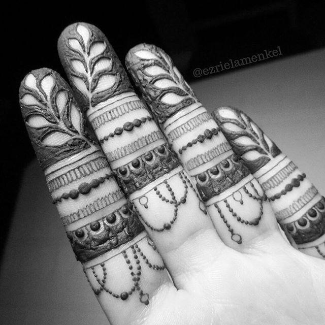 Negative space finger tips and elegant design henna mehndi tattoos