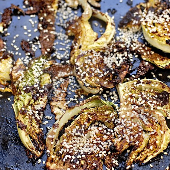 roast cabbage with miso and sesame