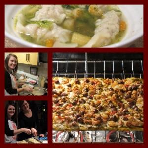 War wonton soup and gluten free jambalaya flatbread