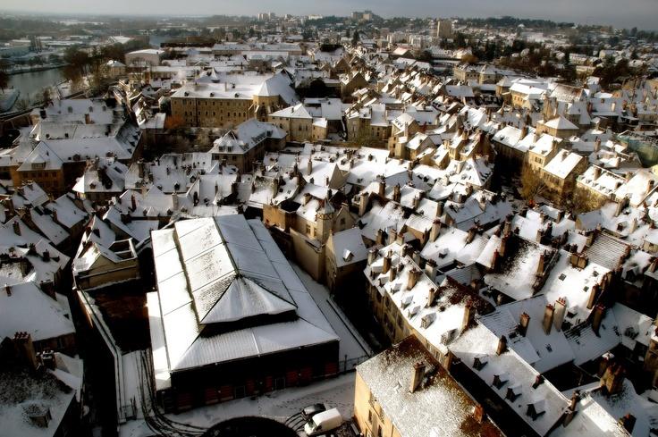 Henri Bertand - Dole, les toits enneigés, depuis le clocher de la col...: Photos Shar Community, Photos Exploring, Toits Enneigés, Clocher De, The Roofs, Of The, Since, Dole, Le Clocher