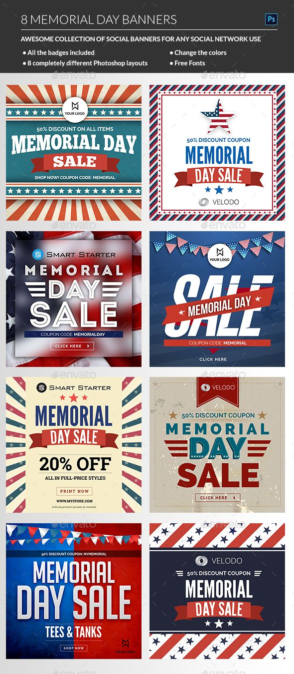 Memorial Day Sale Banners Template PSD. Download here: http://graphicriver.net/item/memorial-day-sale-banners/16073205?ref=ksioks