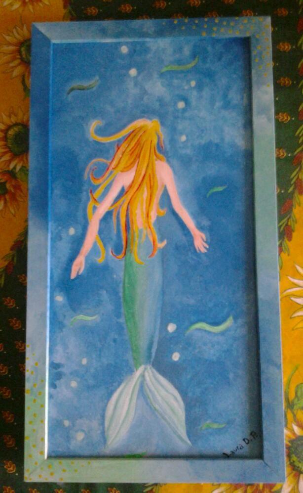 sirena, acrilico