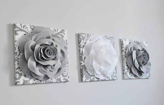 Gris y rosa arte estampado de flores 3D vivero Damasco