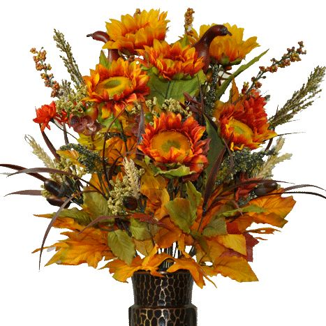 Orange/Yellow Sunflower and Mini Mum Mix (MD1298)  Fall  Bouquet with the Stay-In-The-Vase® design. Stop missing cemetery flowers!