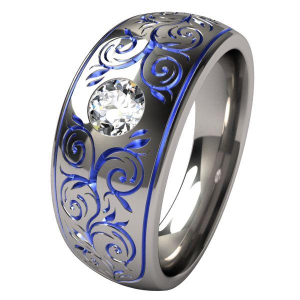Titanium Rings Sophia: gold anodization with london blue topaz