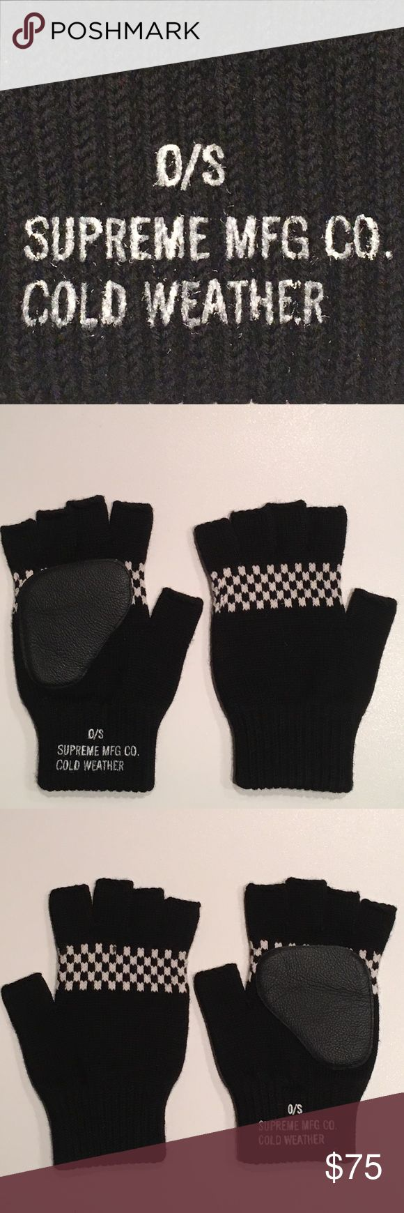 🆕 Supreme O/S Cold Weather Gloves BRAND NEW! 🆕 Supreme Fingerless O/S Cold Weather Gloves. RAND NEW! Black Leather Patch. Super Thick & Cushiony! NEVER WORN! MINT! Supreme Jackets & Coats