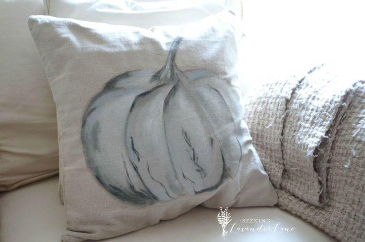 Pumpkin pillow on couch