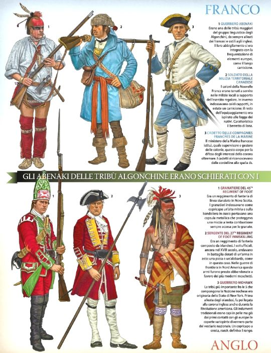 Top Left to Bottom right; Abenaki warrior,Canadian militia,Cadet Compagnie Francs De La Marine ,Grenadier 45th Foot   , Sergeant 22nd (Inniskilling) Foot  Mohawk warrior