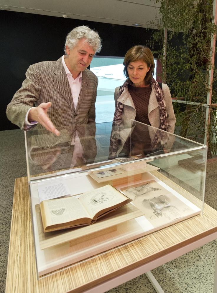 Juan Luis Arsuaga y Milagros Algaba, encargados de la exposición, observan una de las vitrinas con algunos de los libros de Darwin.