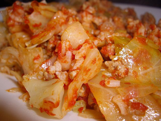 Lazy Man Cabbage Rolls  - use homemade tomato sauce and brown rice.  Yum!