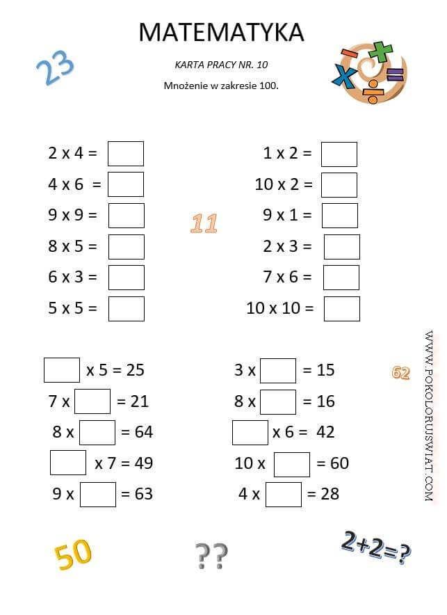 testy matematyczne dla klasy 4