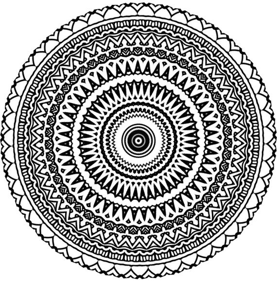 Aztec Mandala Zentangle Doodle Drawing By KathyAhrens