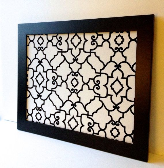 LARGE magnet board, magnetic bulletin board, office decor, framed memo board, black & white, geometric pattern, wedding decor, classic decor on Etsy, $88.00