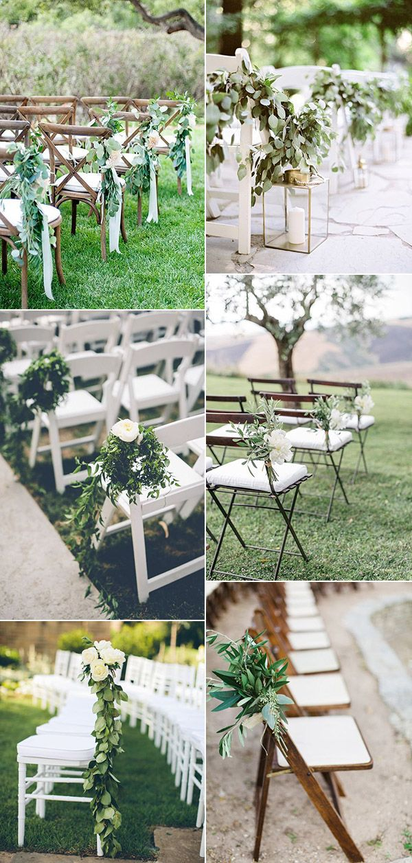 Outdoor wedding ceremony decor simple white folding chairs on the outdoor wedding ceremony decor simple white folding chairs on the aisle draped with greenery garland and gold lanterns with pillar candles drea junglespirit Gallery