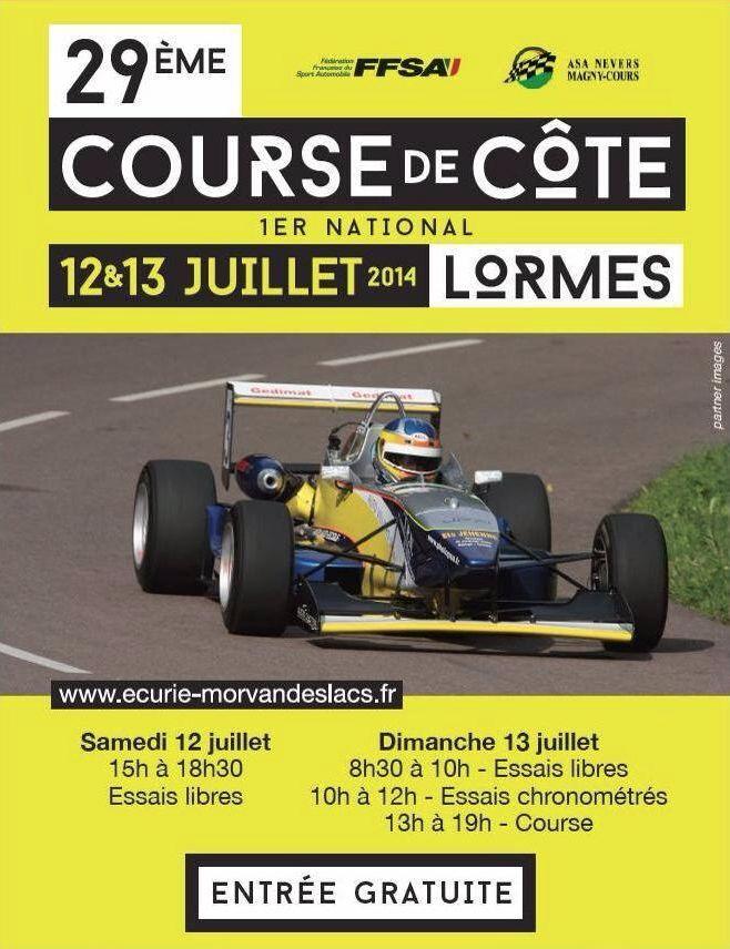 29ème course de côte de Lormes. Du 12 au 13 juillet 2014 à Lormes.