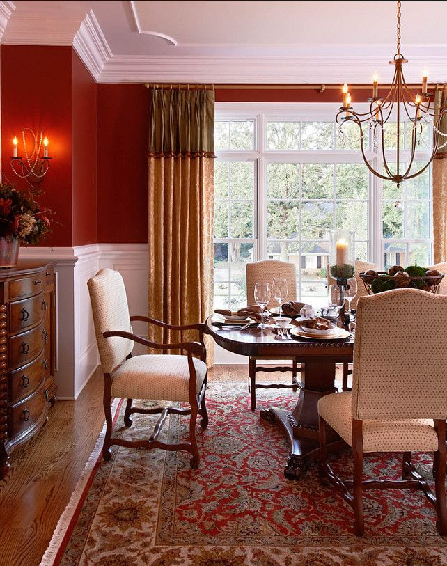 Amazing Traditional Home With Beautiful Interiors   Home Bunch   An Interior Design  U0026 Luxury Homes Blog. Red Dining RoomsDining Room CurtainsRed ...
