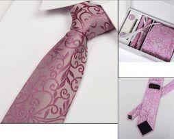 Luxusný kravatový set D- kravata + vreckovka + manžety + spona
