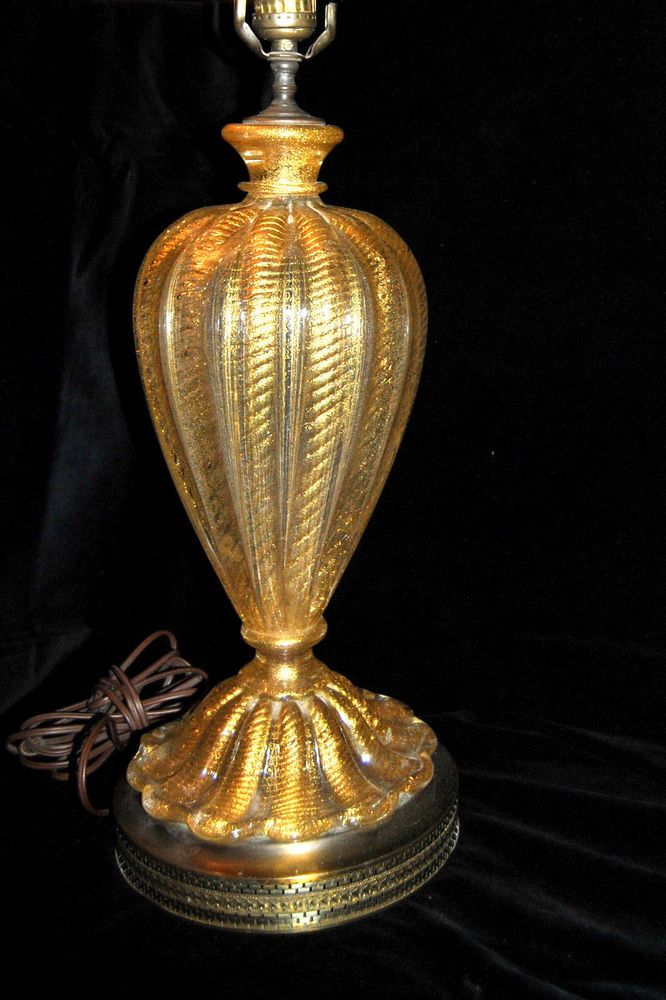Beautiful  Barovier & Toso 1950s Gold Flex Murano Art Glass Table Lamp. NICE