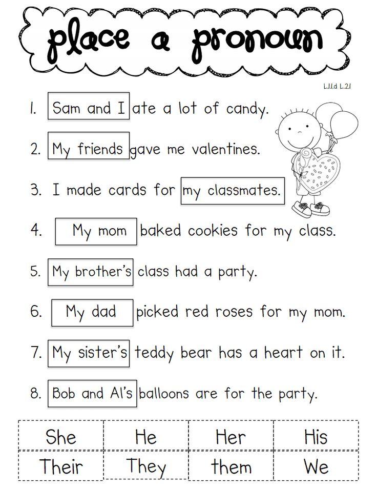 Printables Pronoun Worksheets 2nd Grade pronoun worksheets 2nd grade imperialdesignstudio valentine pdf parts of speech pinterest