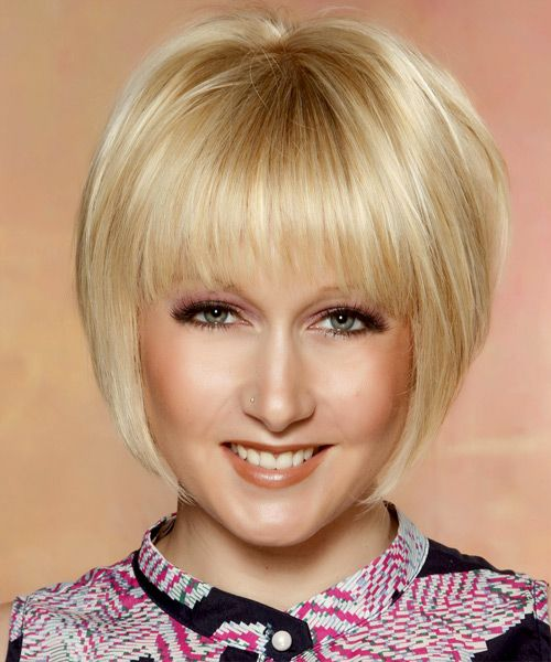 Short Straight Formal Bob Hairstyle with Layered Bangs ...