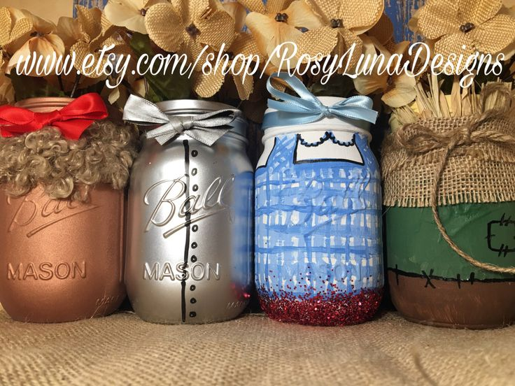 A personal favorite from my Etsy shop https://www.etsy.com/listing/466238728/the-wizard-of-oz-mason-jar-set-dorothy