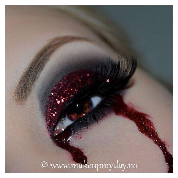 Dramatic Black Bleeding Eyes Face Paint