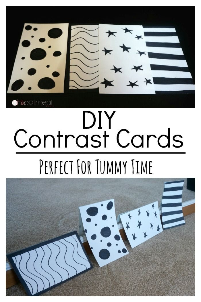 DIY Contrast Cards, Perfect for baby tummy time.  Contrast cards are a great tummy time tip- Pink Oatmeal