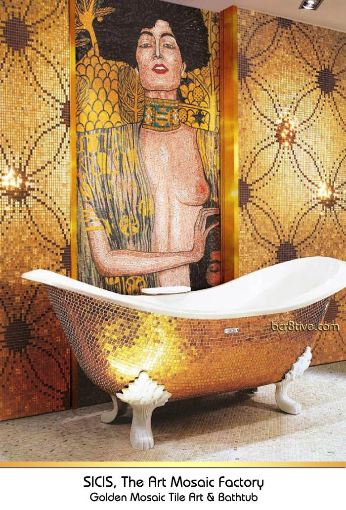 Gold Claw Foot Mosaic Tiled Bathtub Mosaic Tiled Wall by Sicis