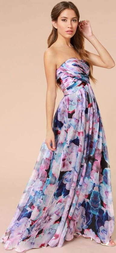 Bariano Special Effects Purple Floral Print Maxi Dress - Lulus