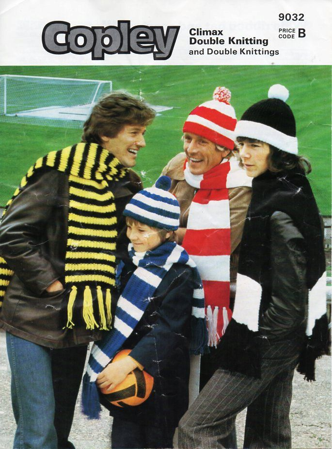 vintage mens football hats scarf sets knitting pattern PDF DK mans striped cap bobble hat small medium large DK light worsted 8ply Download by Hobohooks on Etsy