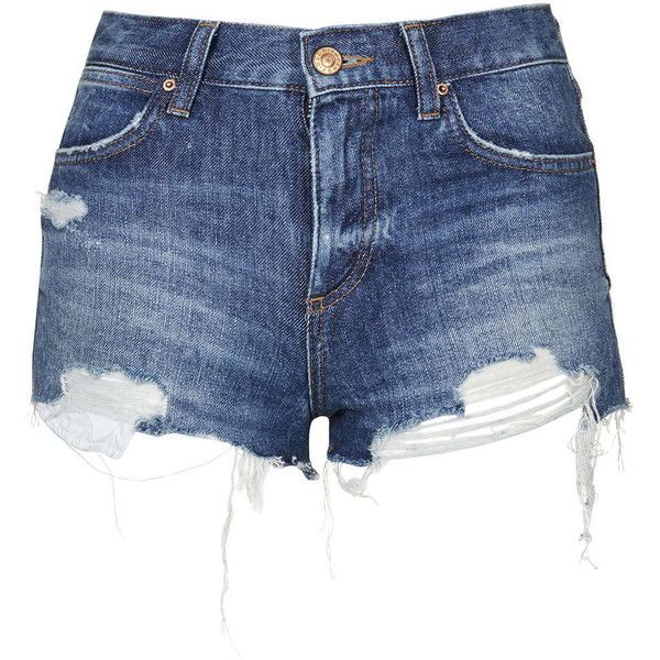 TOPSHOP MOTO Vintage Rosa Short (180 PEN) ❤ liked on Polyvore featuring shorts, mid stone, vintage ripped shorts, vintage shorts, topshop, torn shorts and destroyed shorts